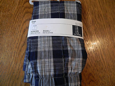 NWT GAP mens boxers, blue and gray plaid, 100% cotton size small