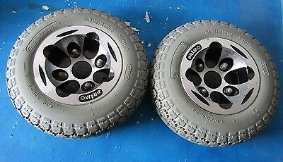 Pair Of Quickie Tires 4.10/3.50-6 W/ Rims For Power Wheelchair