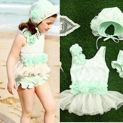 Toddler Girl Boutique Bathing Suit Swim Set With Cap Tankini Green Size 4T NWT