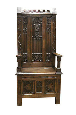 Tall Antique French Gothic Throne Chair, Great Carvings, Late 19th Century