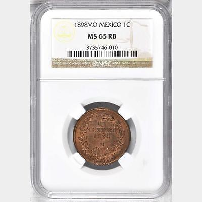 1898 MO Mexico 1 Centavo, NGC MS 65 RB, Superb, 1 Finer @ NGC