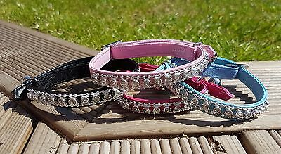 Cat Collar Diamante Rhinestone Safety Elastic PU Leather Bell Pet Girl Boy Pink