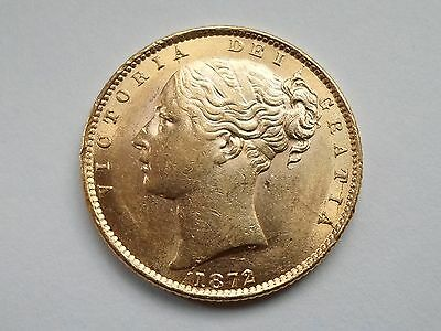 VICTORIA 1872 Full Gold SHIELD Sovereign LONDON Mint UK Die Number 3