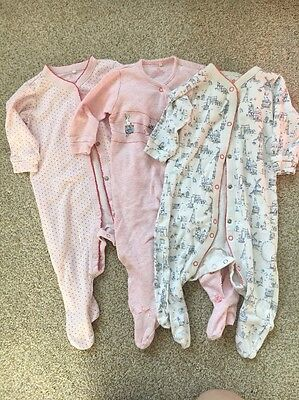 Pack Of 3 Next Sleepsuits Baby Girls 6-9 Months