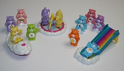 Care Bears Toy Lot! Cloud Car, Merry Go Round, Slide, 11 Figures, 3 Accessories