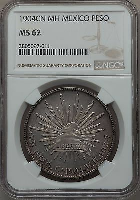 1904 Cn MH Mexico Cap & Rays Peso NGC MS 62 High Grade Nice Toning