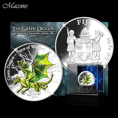 Green Dragon Force Of Weather 2017 Fiji 3 Oz 999 Silver Coin With 3D High Relief