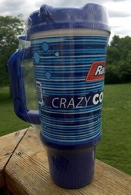 1 RaceTrac Gas Station 32 OZ Mug Cup Blue Insulated Double Wall Fountain Drink