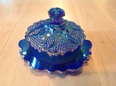 Westmoreland Aurora Blue Carnival Glass Limited Edition Candy Bowl/ ButterCup.