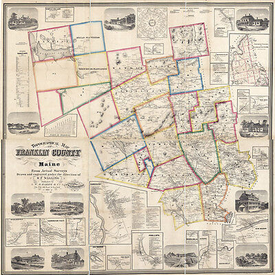 1861 Map of Franklin County Maine LARGE 35 x 35 Map