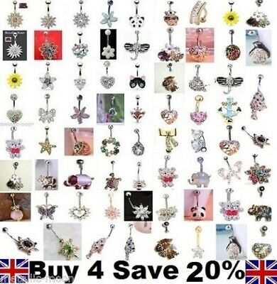 Belly Bars Button Piercing Jewellery Gold Navel Rings Crystal Reverse Belly Bar