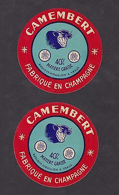 2 Anciennes étiquettes fromage  France BN19605 Camembert Champagne  Vache