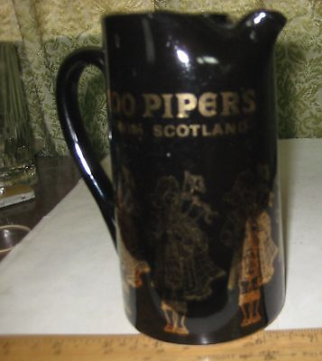 97-11 100 Pipers From Scotland Ceramic Pitcher, Seagrams Scotch Whisley Bar Pitc