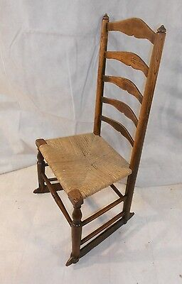 ANTIQUE GEORGIAN LANCASHIRE LADDERBACK ROCKING CHAIR c1800-30 VERNACULAR CHAIR