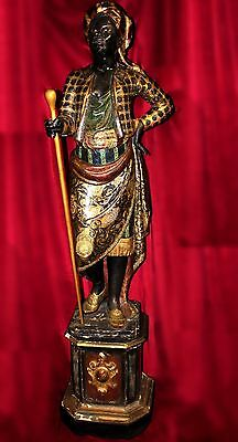 Venetian Carved and Polychromed Blackamoor with Original Pedestal, 19th Century