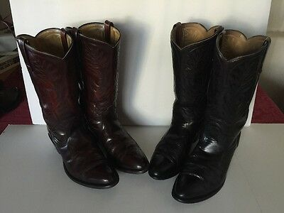 2 Pairs Mason Men's 9 Cowboy Western Riding Leather Dress Boots