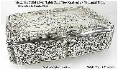 Excellent Victorian Solid Silver Table Snuff Box Nathaniel Mills B/ham c1848