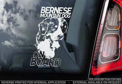 Bernese Mountain Dog - Car Window Sticker - Dog Sign -V01