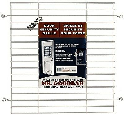 """Mr. Goodbar 27"""" x 24"""" White Back Door Grille Window Anti-Theft Home Security Bar"""
