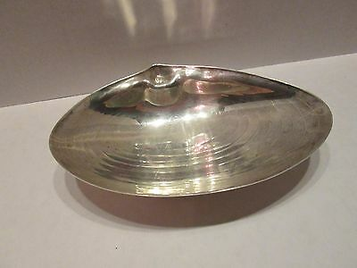 Vintage Silver Plate Oyster Clam Seafood Butter Candy Dish Beach Cottage Soap