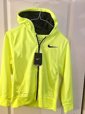 Nike Therma Fit Zip Front Hoodie Boys Large Blue New With Tags
