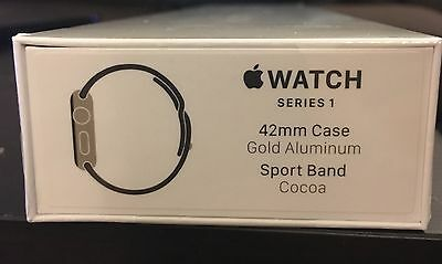 Brand New - Apple Watch Series 1 - 42mm Gold Aluminum Case Cocoa Sport Band