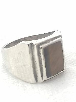 Vintage Sterling Silver Long Tiger Eye Ring Mexico Size 12 17.2g Signed MEN