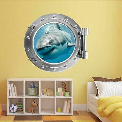 SHARK OCEAN PORTHOLE Wall Art Sticker Mural Decal Kids Bedroom Home ...