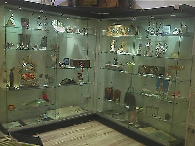 2 Glass Display cabinets with pelmets & lighting $ 2400