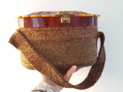 VTG. 1940's Copper Bronze Colored Beaded Box Purse Lucite Clamshell Lid Top