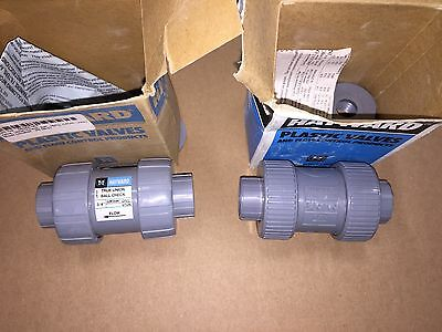 "New Lot (2) Hayward 3/4"" CPVC True Union Ball Check Valve TC20075ST Viton Seals"