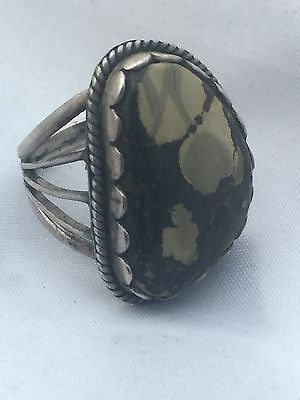 Vintage Sterling Silver Tortois Camo Turquoise Ring Size 6.5 7.5g Tribal Southwe