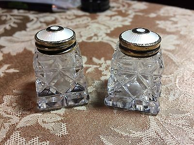 Norway Sterling Silver Hroar Prydz White Guilloche Enamel Salt & Pepper Shakers