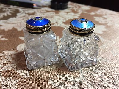 Norway Sterling Silver Hroar Prydz Blue Guilloche Enamel Salt & Pepper Shakers