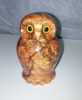 Stone Carved owl Italy Paperweight/Figurine Bird