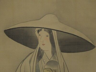 Hanging Scroll Japanese Painting Beauty Mother children Japan art Picture g76