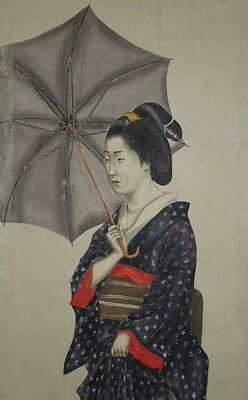 Hanging Scroll Japanese Painting Japan beauty ink Asian art Antique Umbrella l57