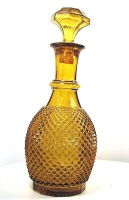 Vintage Amber Glass Diamond Weave Genie Bottle Decanter with Glass Stopper EUC