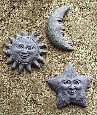 Resin sun moon and star face, faces, wall plaques set, distressed look surface