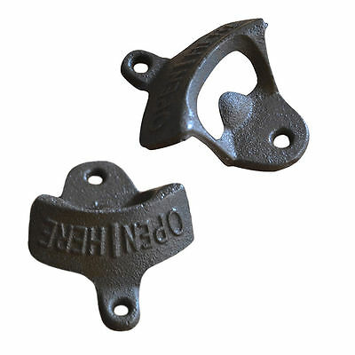 2X Rustic Cast Iron OPEN HERE Wall Mounted Beer Bottle Opener Soda Free Shipping