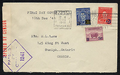 Australia - 1941 KGVI Surcharges set of 3 on censored FDC to Canada