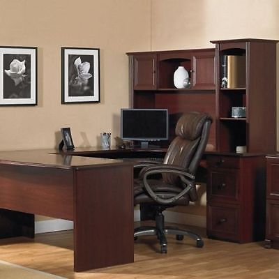 NEW U Shaped Office Executive Desk WITH Hutch CHERRY + L shaped