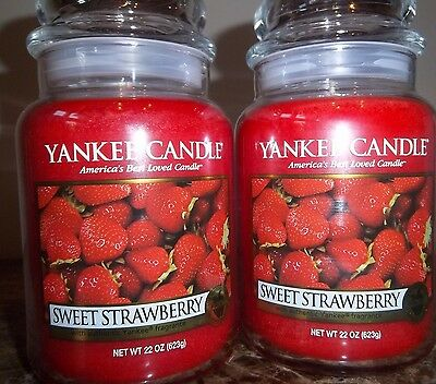 Lot of 2 Yankee Candle NEW  Sweet Strawberry  22 oz.Candles Free Shipping