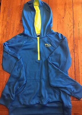 FILA Royal Blue Hoodie Sweatshirt with Lime Green Trim, Size Youth XL(16)