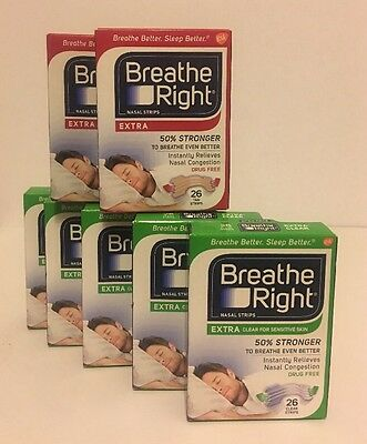 Mixed Lot Of 7 Breathe Right Nasal Strips - Extra Tan/ Extra Clear - 182 Total