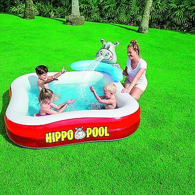 "Bestway Piscina inflable para niños ""Hippo spray pool"" 203x203x107 cm -  New"
