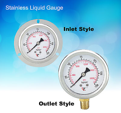 "4"" Hydraulic Stainless Liquid Gauge 1500 PSI 3/8""PT (Outlet Style)  AT-100"
