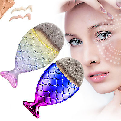 Mermaid Tail Fish Cosmetic Brush Powder Cream Foundation Women Makeup Blush-USA