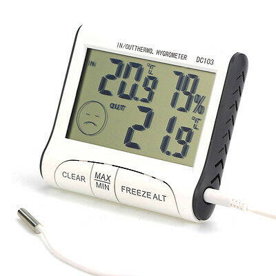 LCD Digital Indoor Outdoor Weather Thermometer Hygrometer Humidity Meter C/F