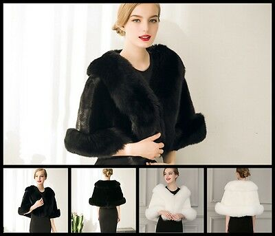 New Womens Faux Fur Winter Warm Shawl Cloak Cape Coat wedding Jacket Wrap Stole
